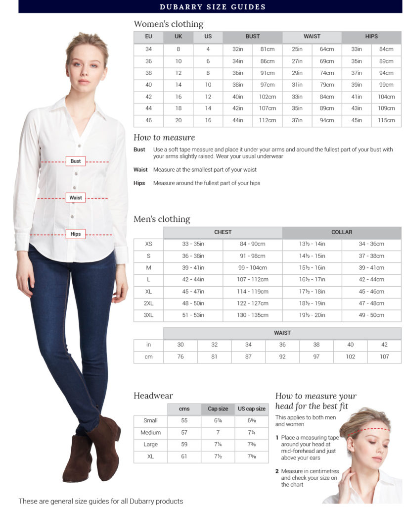 Dubarry Clothing Size Chart