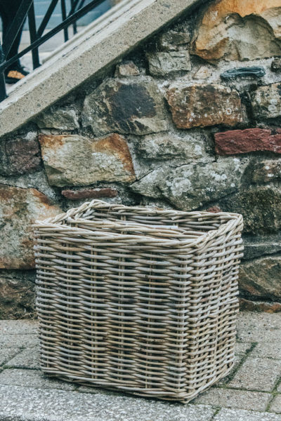 Grey Rattan Magazine and Newspaper Basket