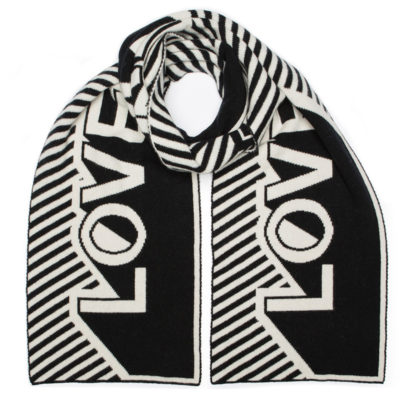 Love Blanket Scarf Black White